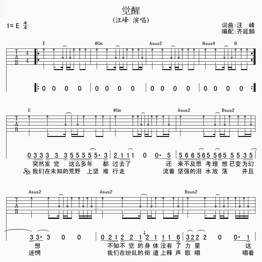 觉醒吉他谱