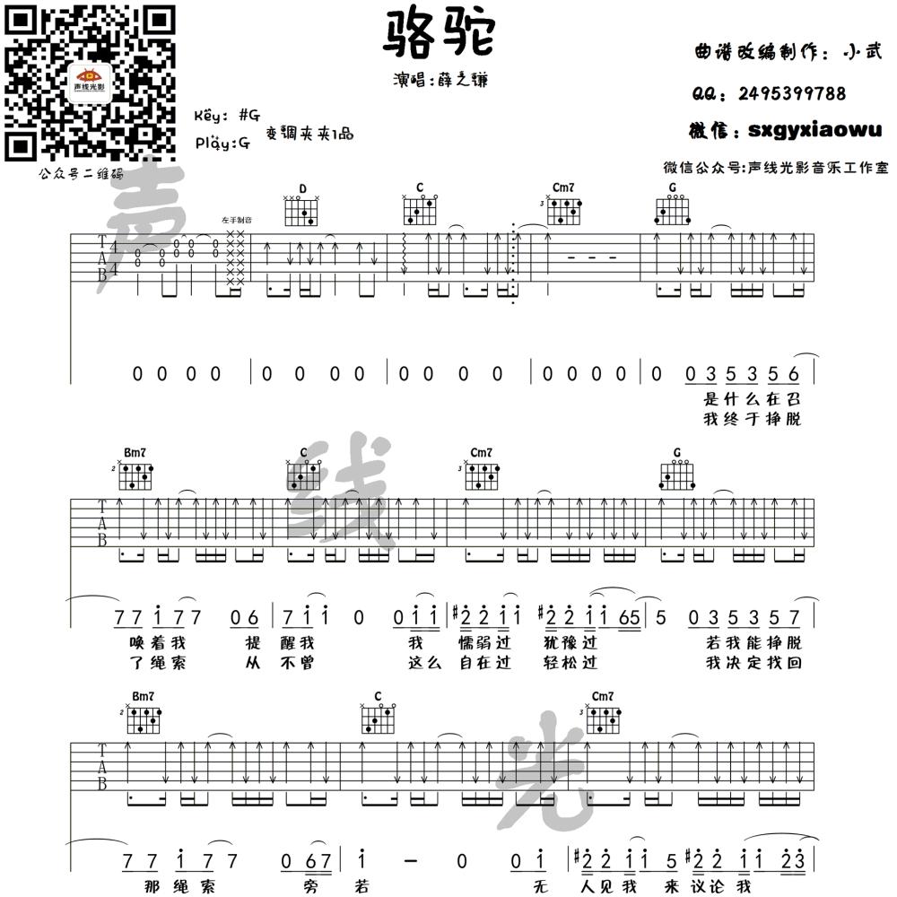 骆驼吉他谱